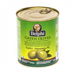 Оливки Super Mammouth с косточкой в рассоле 91/100, DELPHI, 820 г