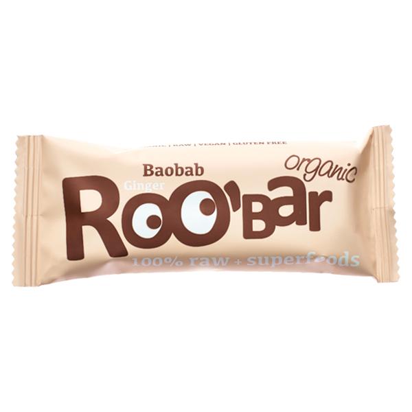 Батончик Roobar - финики, баобаб, кешью, имбирь, 30 гр